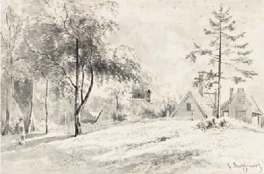 A landscape with cottages