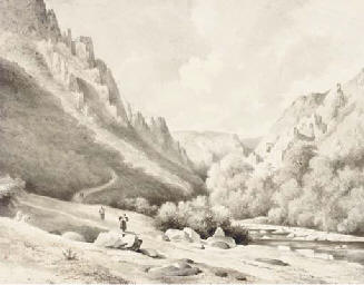A valley landscape with figure