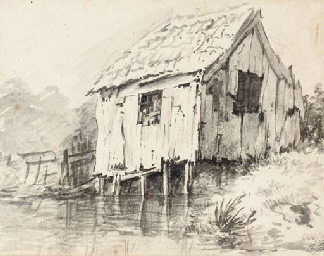 A cottage by a stream (recto);