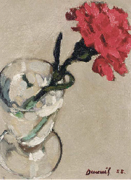 A red carnation in a glass vas