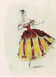 A costume design for a lady da