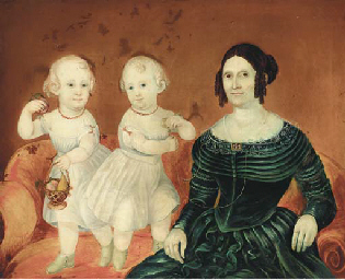 Portrait of a lady and two chi