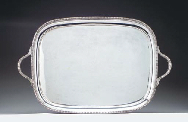 A SILVER-PLATED TRAY,
