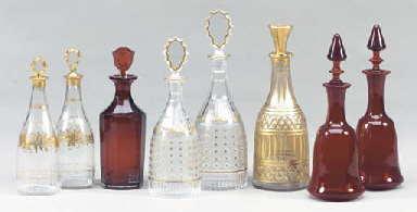 A GROUP OF FIVE CUT GLASS AND