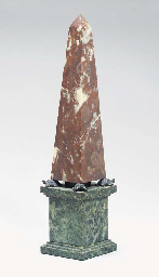 A PAIR OF MARBLE OBELISKS,