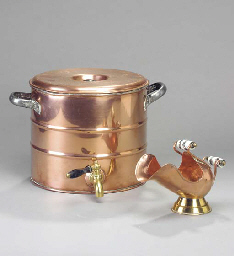A BRASS AND COPPER COVERED POT
