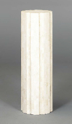 A PAIR OF TRAVERTINE MARBLE VE