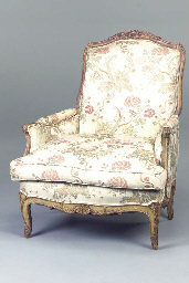 A LOUIS XV STYLE GREEN-PAINTED