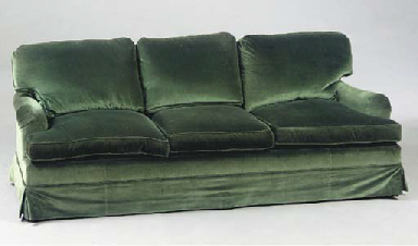 A PAIR OF CLUB SOFAS COVERED I