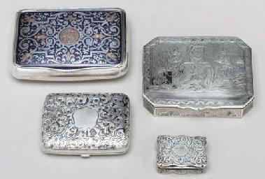 FOUR VARIOUS SILVER TABLE BOXE