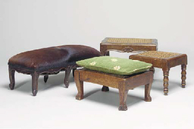 A LOUIS XV FOOTSTOOL COVERED I