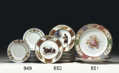 A GROUP OF TEN PORCELAIN PLATE