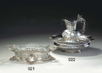 A FRENCH SILVER EWER AND BASIN