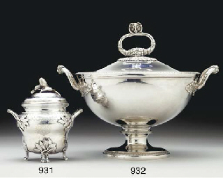A FRENCH SILVER SOUP TUREEN WI