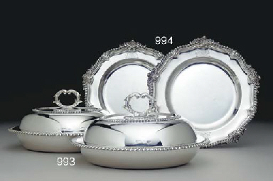 A PAIR OF GEORGE IV SILVER DIN