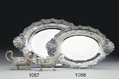 TWO GEORGE II SILVER MEAT DISH