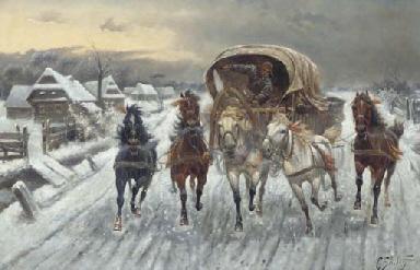 A Russian Caravan racing in th