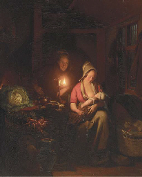 A Family in a candlelit Interi