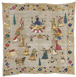 An embroidered rumal, the fine
