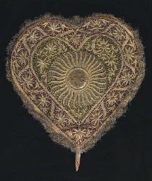 An embroidered velvet fan, the