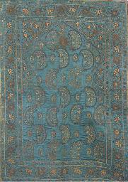 A prayer-mat of sky blue satin