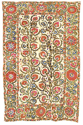 A susani, worked in silks with