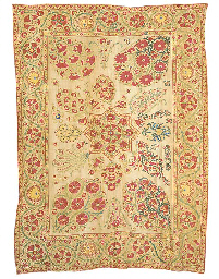 A susani, worked in silks, the