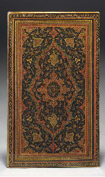 A pair of Qajar lacquer book c