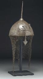 A Qajar steel khula-khud and s