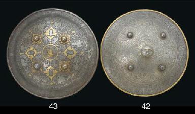 A Qajar damascened steel shiel
