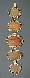 A Qajar gold and agate mounted