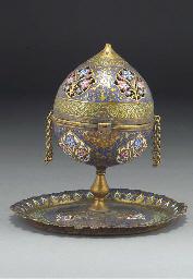 An Ottoman enamelled gilt copp