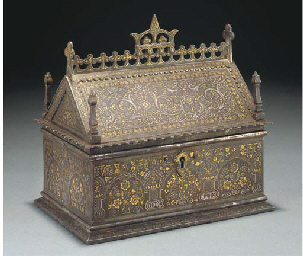 A Koftgari damascened casket a