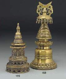A two-sectioned bronze stupa,