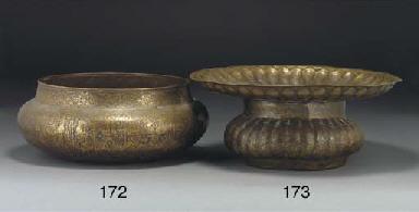A Qajar brass bowl, Iran, 19th