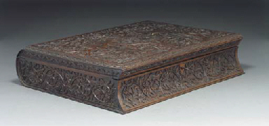 A wooden box and hinged cover,