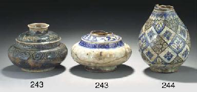 An Iznik pottery glazed vase,