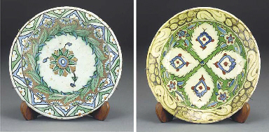 Two Ottoman Iznik glazed potte
