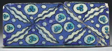 A Damascus pottery border tile
