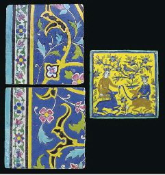 A Qajar square pottery tile, I