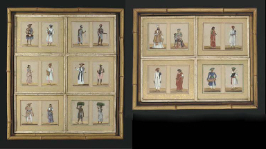 FOUR SETS OF PAINTINGS ON MICA