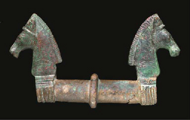A BRONZE ATTACHMENT WITH HORSE