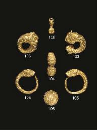 TWO GREEK GOLD LION-HEADED EAR