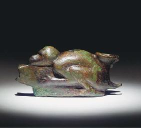 A ROMANO-EGYPTIAN BRONZE LAMP