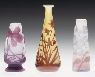 THREE MINIATURE GLASS VASES