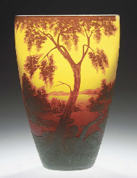 A LARGE CAMEO GLASS LANDSCAPE