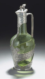 A PEWTER AND GREEN GLASS CLARE