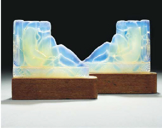 A PAIR OF OPALESCENT GLASS AND