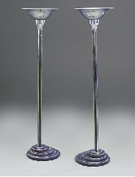 A PAIR OF CHROME-PLATED AND EN
