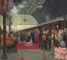 Queen Victoria travels by trai
